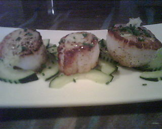 Scallops with Miso and Cucumber at Jo Federigo's Restaurant & Jazz Club in Eugene, Oregon