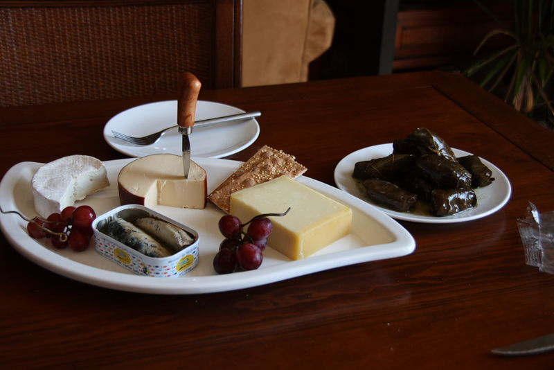 Light Dinner of Cheese, Anchovie and Dolmas