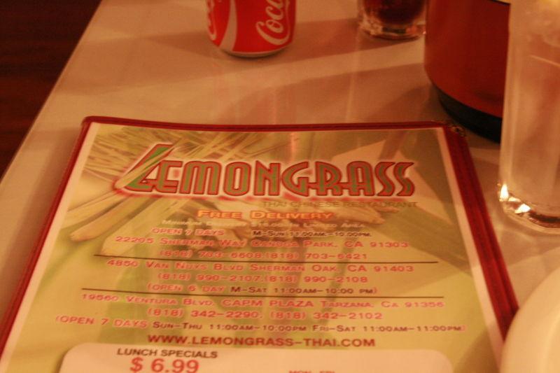 Lemongrass Thai - Menu Cover
