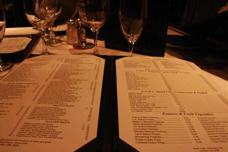 Mastro's Steakhouse - Menu