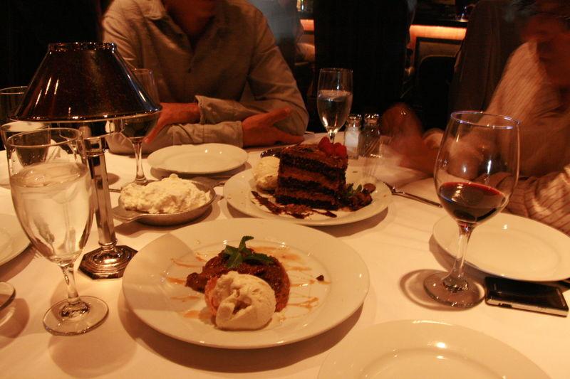 Mastro's Steakhouse - Dessert,Tall Chocolate Cake, Pecan Pie